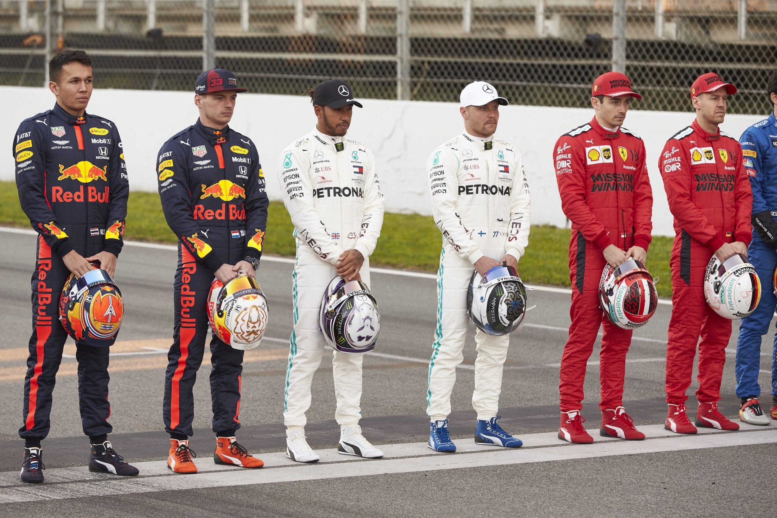 Alexander Albon, Max Verstappen, Lewis Hamilton, Valtteri Bottas, Charles Leclerc, Sebastian Vettel