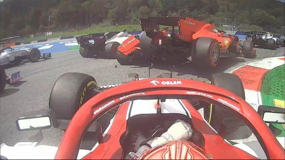 Acidente Ferrari GP da Estíria (crédito: Twitter / @F1)